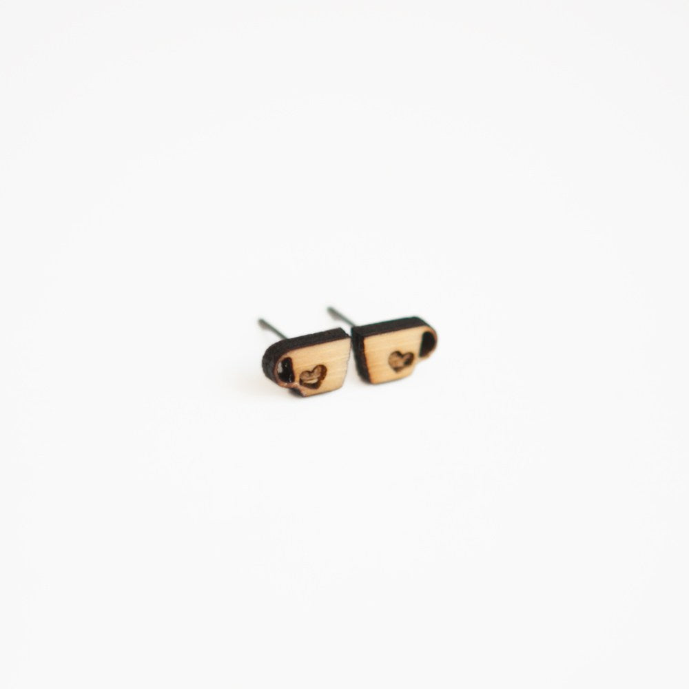Teacup Wooden Earring Studs