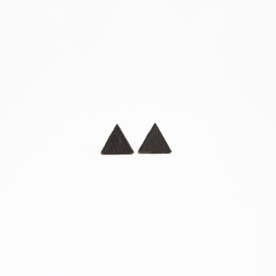 Black Triangle Wooden Earring Studs