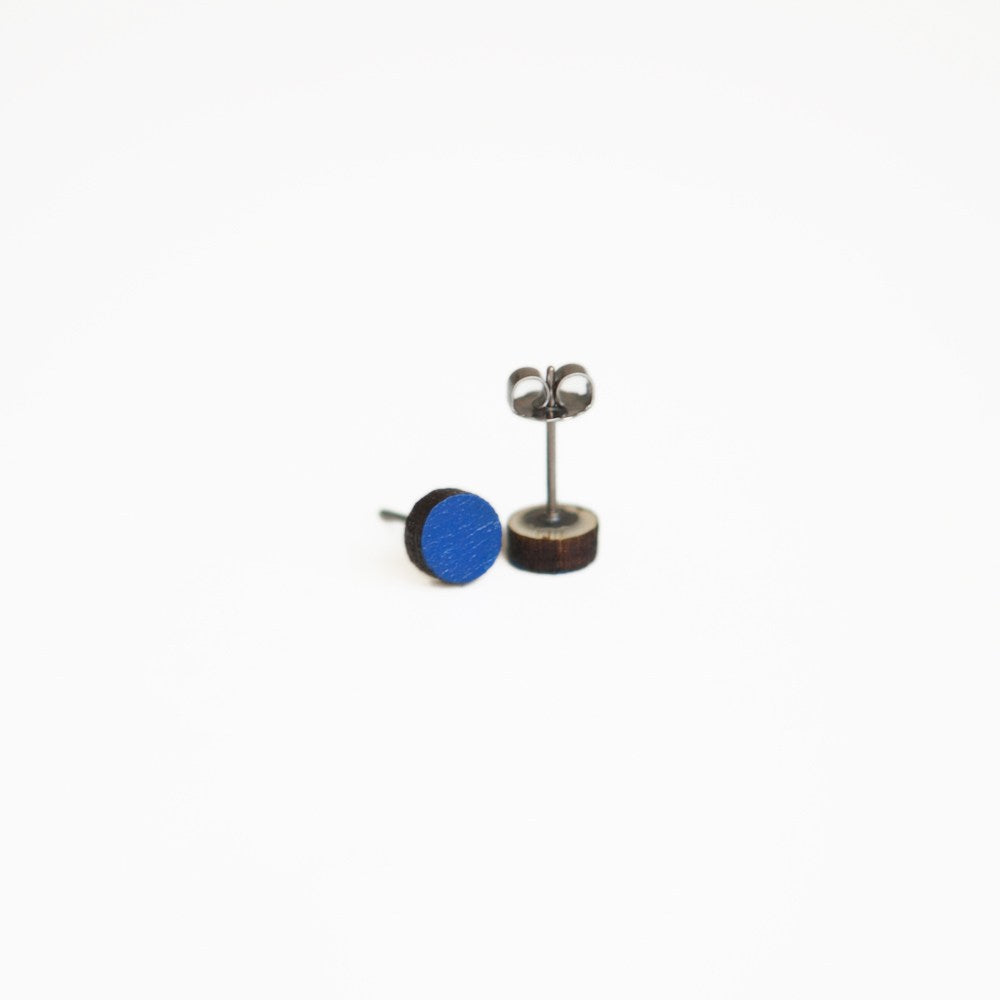Blue Round Wooden Earrings