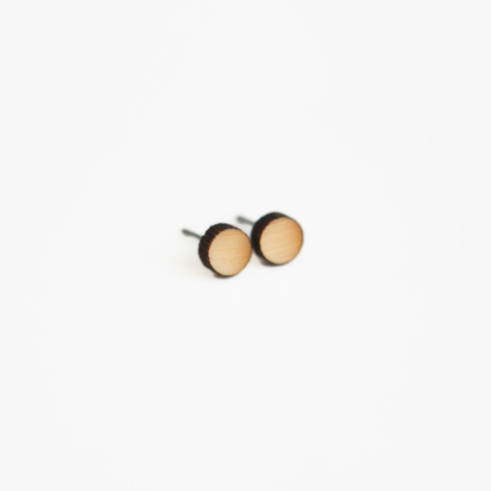 Round Wooden Earrings