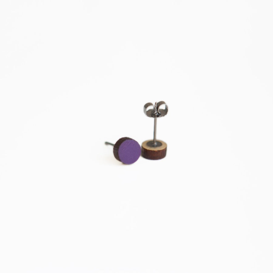 Purple Round Wooden Earrings