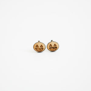 Halloween Pumpkin Wooden Earring Studs