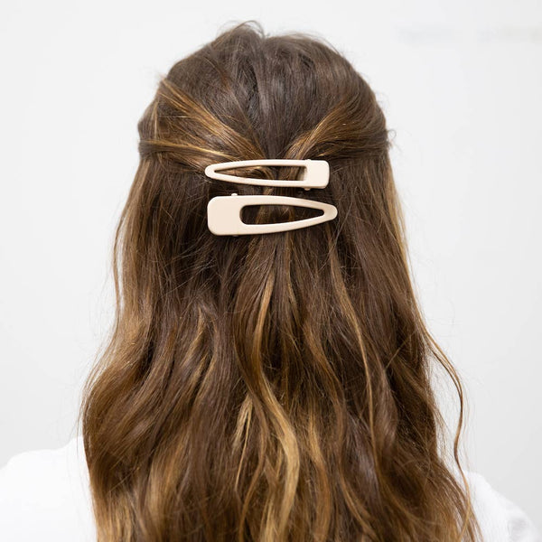 Stella Hair Barrette Collection - Ivory Matte