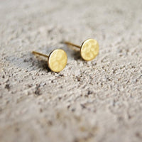 Gold Stud Earrings - Hypoallergenic Textured Circles