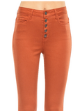 High Rise Exposed Button Skinny // Rust