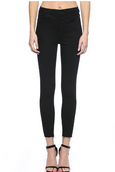 High Rise Exposed Button Skinny // Black