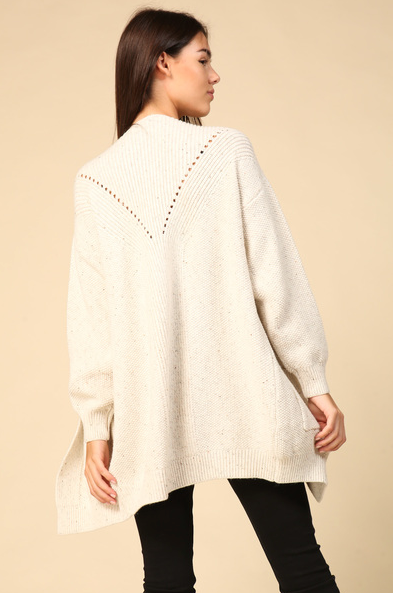 Speckled Cable Knit Cardigan // Ivory