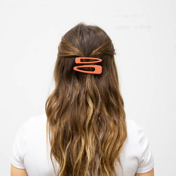 Stella Hair Barrette Collection - Salmon Matte
