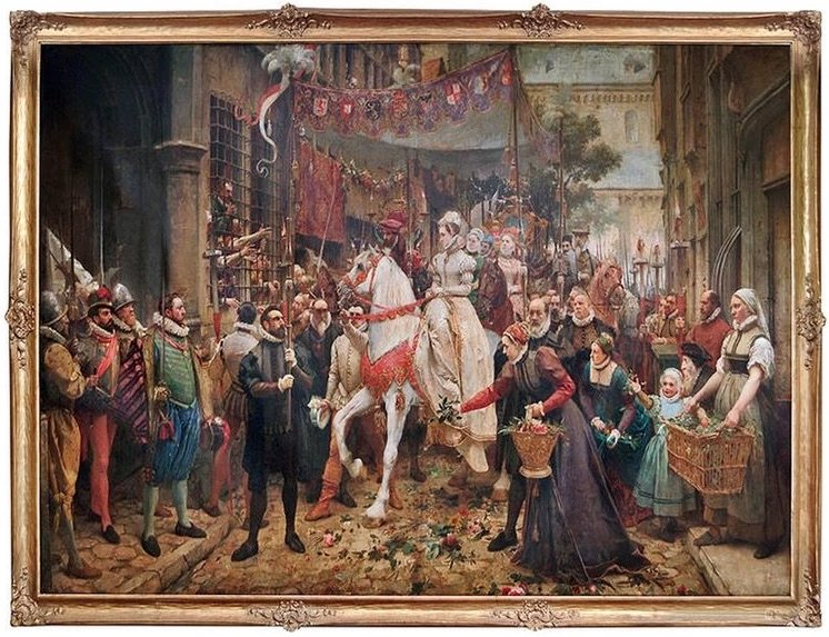 "Monumental Oil Painting ""Entry of Margaret of Parma Into Antwerp, 1567"""