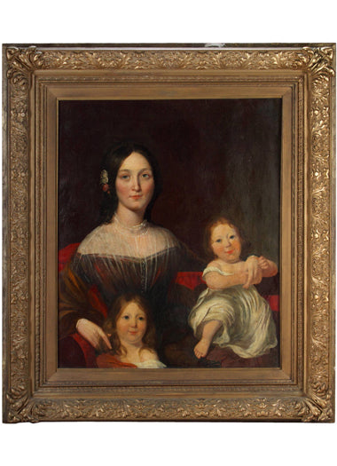 An English Painting of Mother with Children