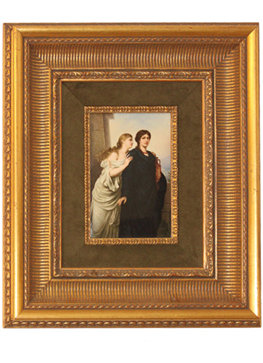 "A Fine Berlin K.P.M Porcelain Plaque Titled ""The Secret"" in a Gilt Wood Frame Mint"