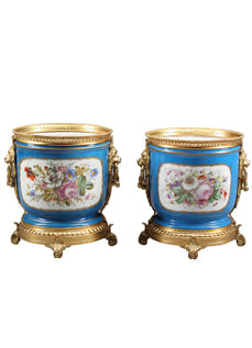 A Pair of French Sevres Hand-painted Porcelain Gilt-bronze Mounted Planters