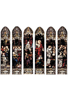 Six Panel Stained Glass Windows Portraying the Life of St. Barnabas & the Resurrection