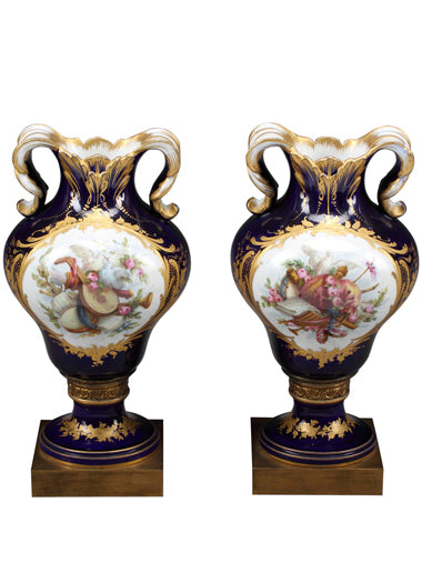 A Pair of 19th century French Jeweled Sevres Portrait Vases