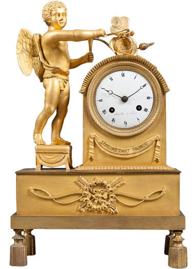 An Early 1800's Gilt Bronze Mantle Cock of a Cherub & Butterfly