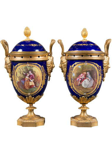 A Pair of 19th Century French Gilt Bronze & Cobalt Blue Sevres Style Jeweled Vases
