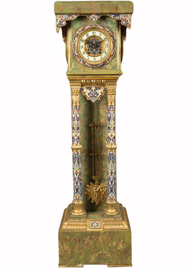 A French Ormolu and Champleve Enamel Mounted Onyx Pedestal Clock