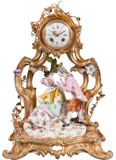 A 19th Century French Louis XV Style Gilt Bronze & porcelain Clock