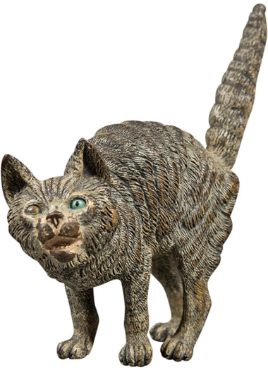 "An Unusual Antique Vienna Bronze ""Terrified Cat"" with Her Tail Pointing Up"