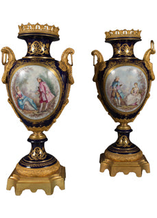 A Pair of Large 19th Century French Sevres Style Ormolu Mounted and Painted Vases