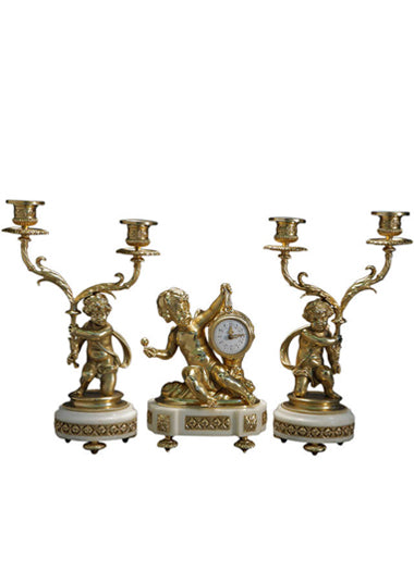 French Louis XVI Style Ormolu mounted marble Clock Garniture