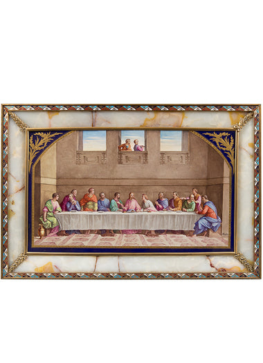 "An Antique Oil on Porcelain Sevres Style Painting in an Onyx and Enamel Frame Depicting ""The Last Supper"""