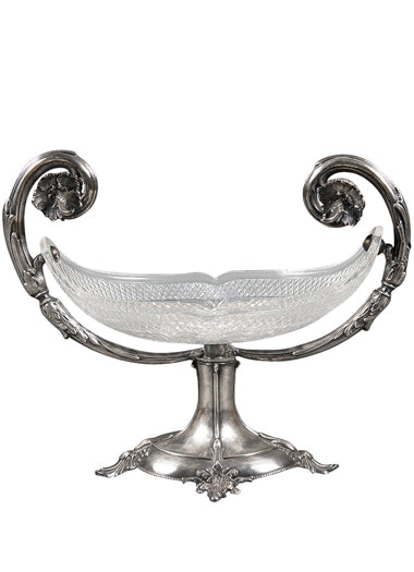 An Antique Continental Sterling Silver and Cut Glass Jardinière