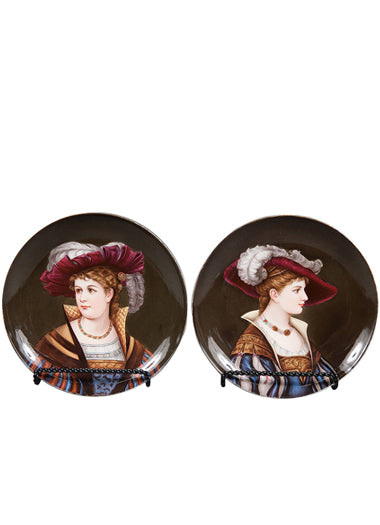 A Pair of 19th Century Vienna Hand Painted Porcelain Portrait Plates