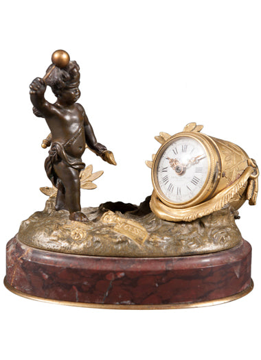 A 19th Century French Gilt Bronze & Rouge Marble Desk Clock