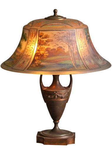 A Pairpoint Reverse Painted Art Nouveau Lamp Depicting the Four Seasons
