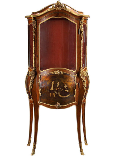 19th Century French Ormolu-Mounted Vernis Martin Vitrine with long legs