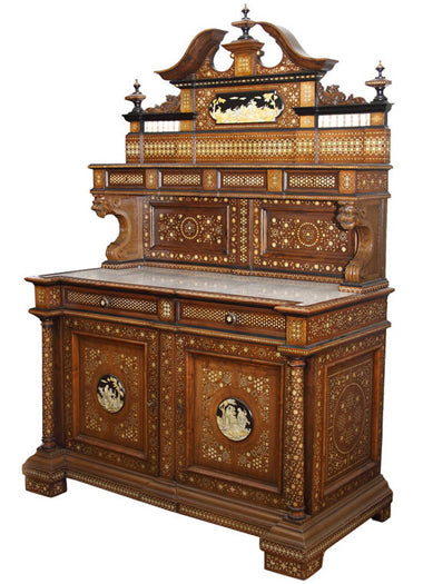 A Large Italian Mass-Inlaid Walnut Credenza/Buffet