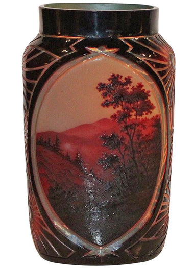 A Large French D'Argental Red Cameo Hand Etched Glass Vase