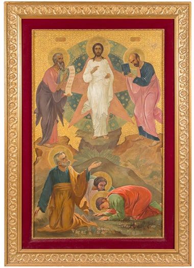 A Large Antique Russian brass Icon Depicting The Transfiguration of Jesus Christ