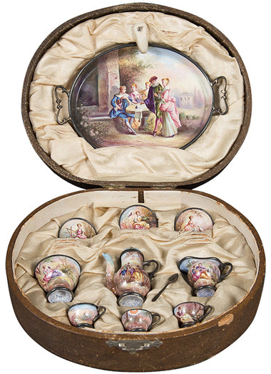 A Rare Antique Austrian Viennese Enamel Miniature Tea Service in Original Box