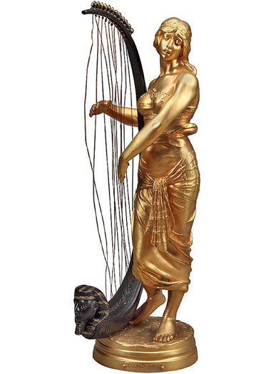A French Gilt Bronze Orientalist Figure of An Egyptian Woman With a Lyre