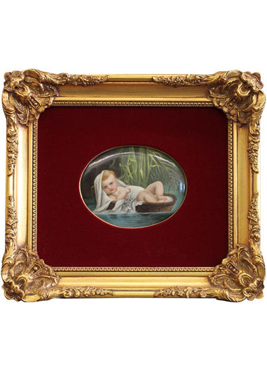 A Berlin K.P.M. Hand-Painted Porcelain Plaque of Baby Moses