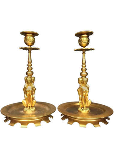 A French Pair of Gilt Bronze Antique Figural Candlesticks