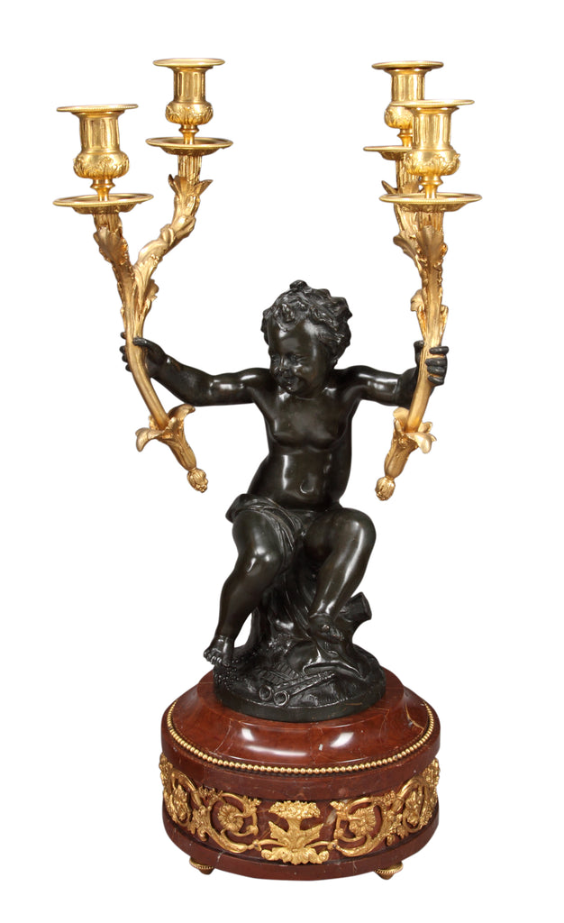 Large figural Clock garniture signed Houdon