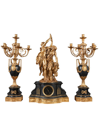 French Ormolu mounted Black Marble Clock Garniture - Clodion
