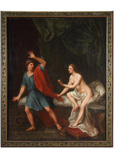 18th century French Oil on Canvas, 'Joseph and Potiphar's wife'