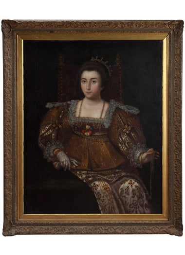 A 17th Century Spanish Oil on Canvas Depicting A Queen