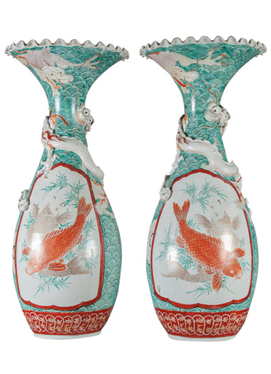 A Pair of Antique Japanese Porcelain Vases with Dragon Motif