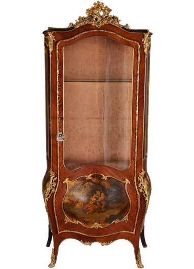 A French Louis XV Style Ormolu Mounted  Vernis Martin Vitrine