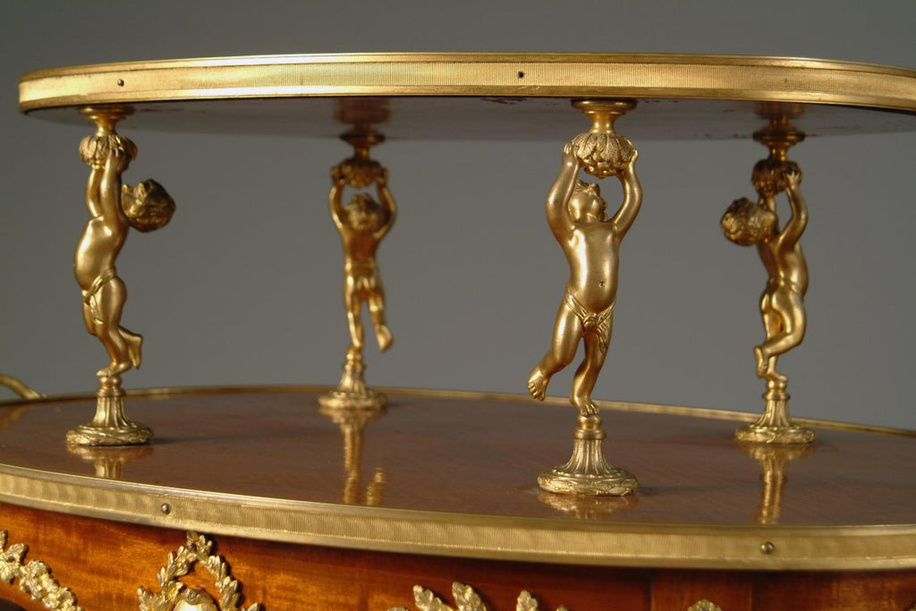 A French Louis XVI Style Ormolu Mounted Two-Tier- Tea Table