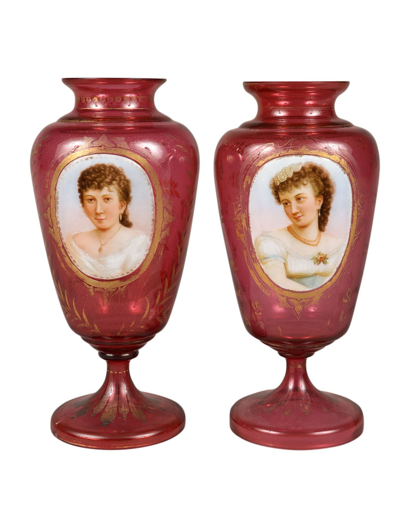 Pair of Bohemian Portrait Vases