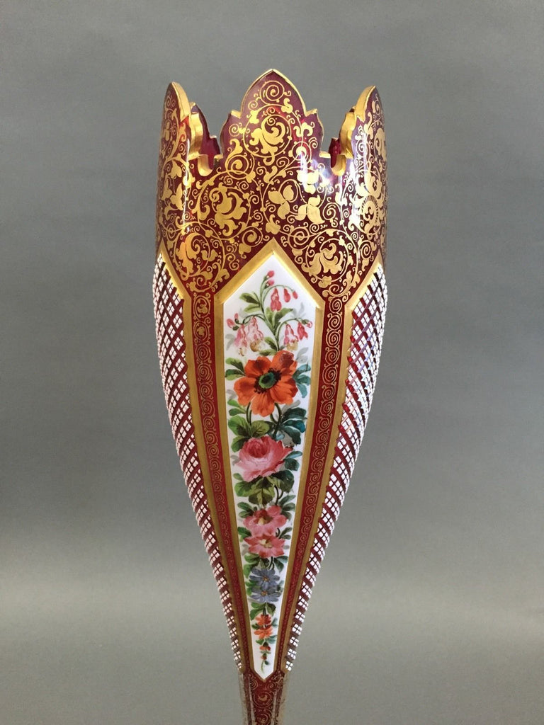 An Early 20th Century Bohemian Cut-Glass Vase