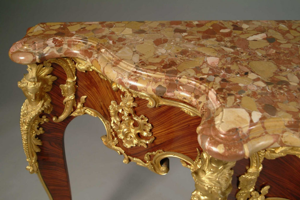 A French Louis XV Style Ormolu Mounted King-Wood Console Table With a Shaped Marble Top