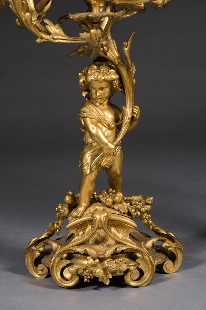 Pair of Gilt-bronze figural candelabras by Victor Raulin