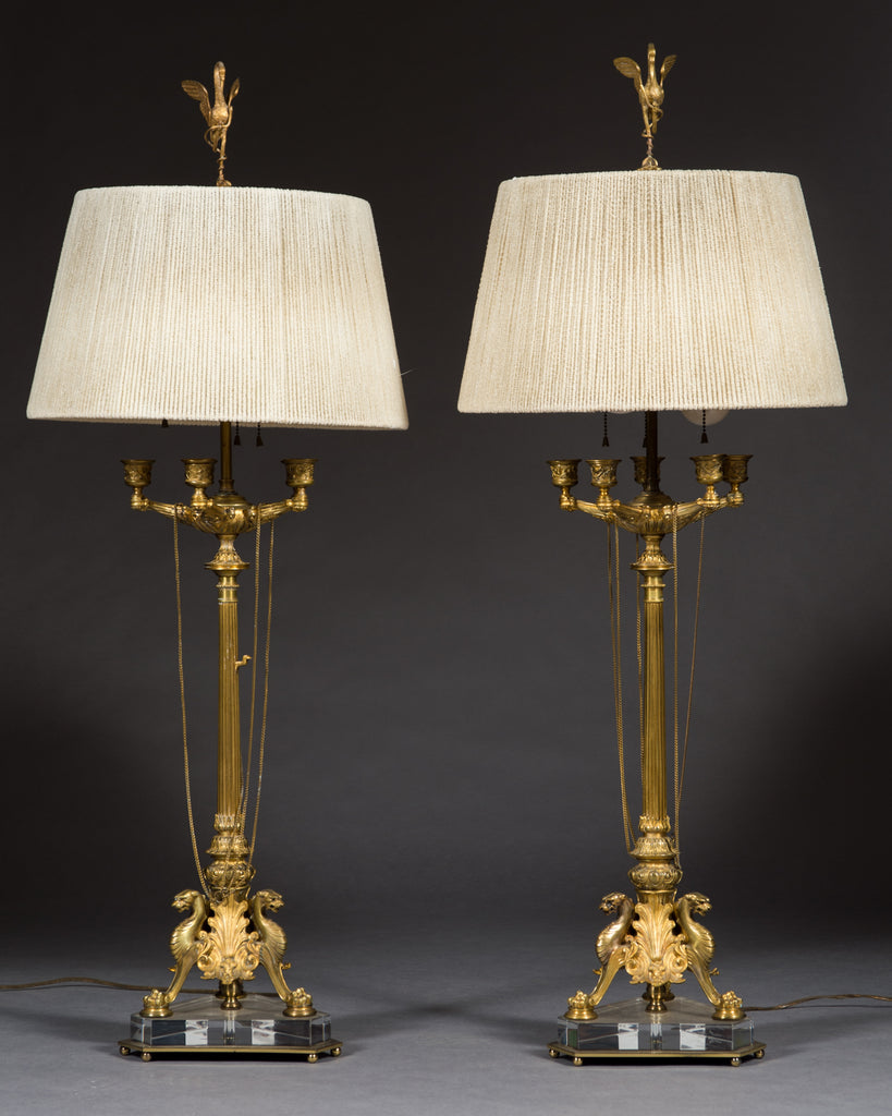 Pair of 19th Century French Gilt Bronze Candelabras / lamps